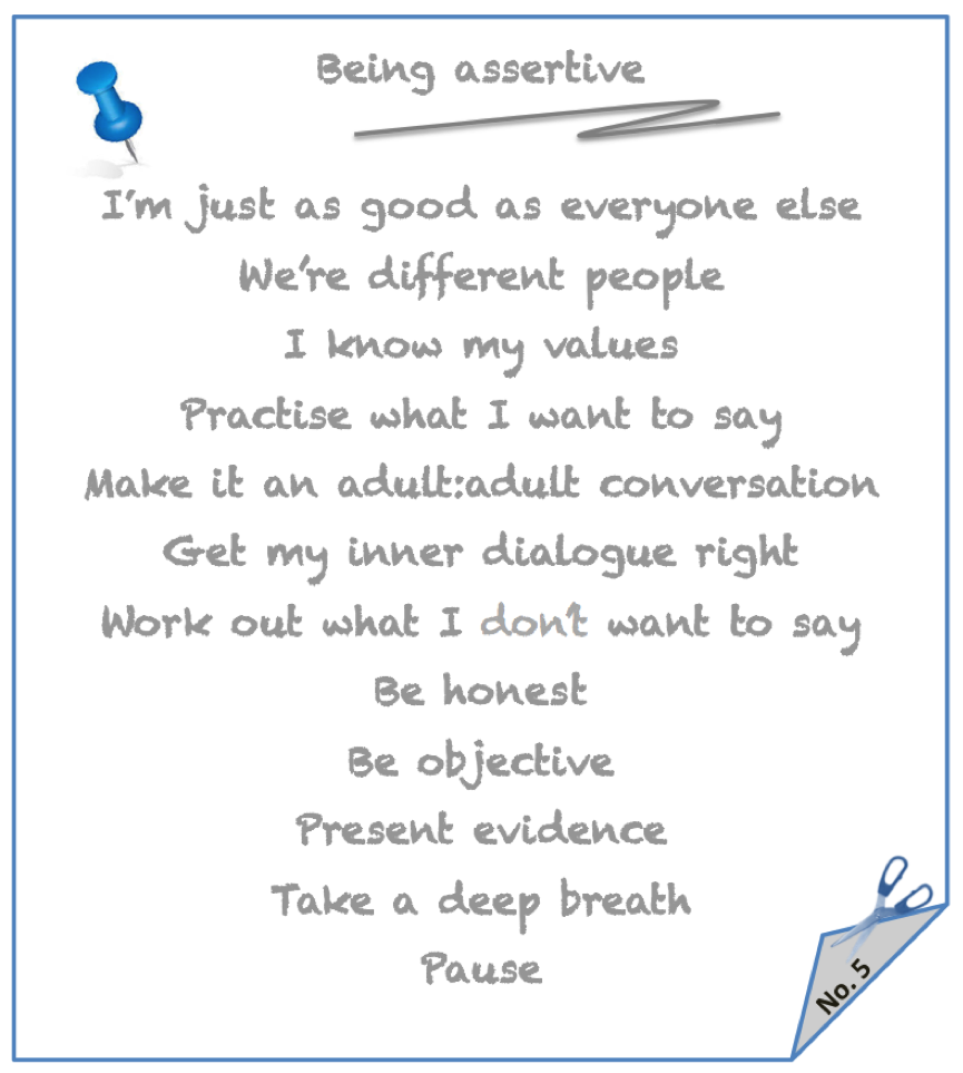 Note to self - Being assertive